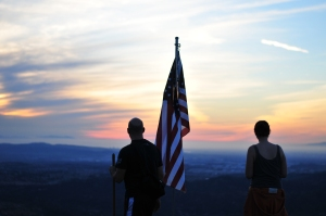 Flag and Friends at Sunset