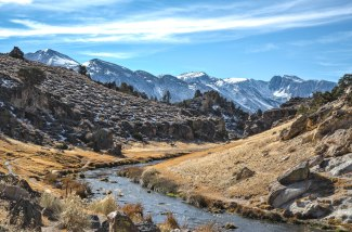 Looking along the Hot Creek Geological Site toward Mammoth Mountain, CA.