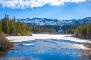 Partially frozen Twin Lakes, Mammoth, CA.