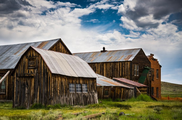 A collection of buildings at Bodie State Historic Park, CA.