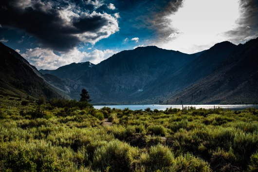 A view of Convict Lake and the surrounding mountains in the early evening.