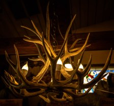 A chandelier made from deer's antlers, one of many hanging in Schatt's Bakkery in Bishop, CA.
