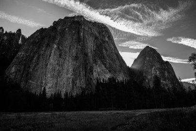 Cathedral Rocks and Spires in the late afternoon in Yosemite.